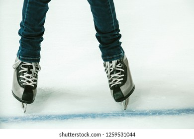 girl's feet skating in different positions on ice, ice skating, sports active lifestyle