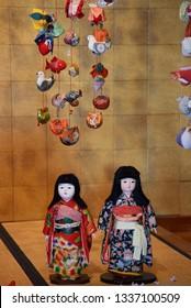 Girl's Festival dolls display and Hanging doll decoration in Izu Inatori , Shizuoka Japan.