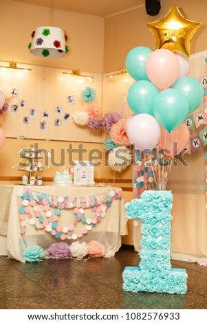 Girls First Birthday Decorations Party For Little Girl Number One On Background Of Beautiful Decorated Candy Bar And Balloons Pink Lilac Mint Colors