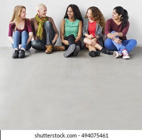Girls Friendship Togetherness Talking Sitting Girlfriend Concept