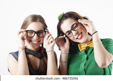 Girls with glasses portrait