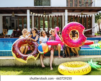Girls group at the pool for summer party