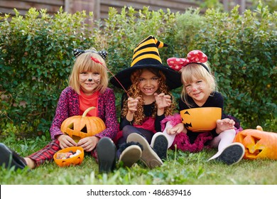 Girls with Halloween treats