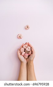 Girl's hand holding pink dry roses buds on pink background. Flat lay, top view. Flowers background.