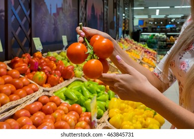 Girl's hand holding a sprig of tomatoes in the store. Picking the tomatoes among the vegetables in the supermarket. Red fresh tomatoes. Vegetarian food, fresh and raw.
