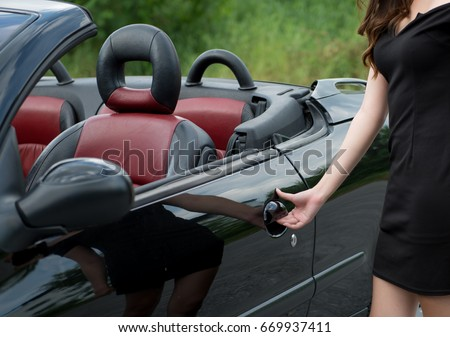Girls Hand Pulling Convertible Sport Cars Stock Photo Edit Now