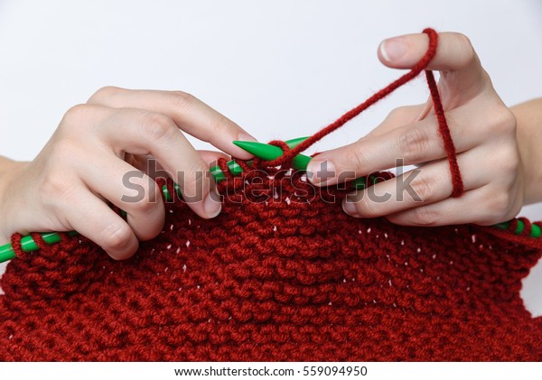 Girls Hands Knitting Red Muffler Out Stock Photo (Edit Now