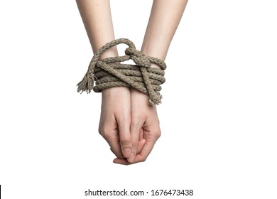 girl's hands tied with a rope on a white background