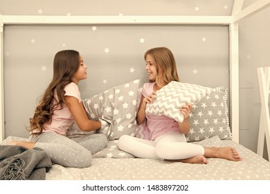 Girls happy best friends sleepover domestic party. Sleepover time for fun gossip story. Best girls sleepover party ideas. Soulmates girls having fun sleepover party. Childhood friendship concept.