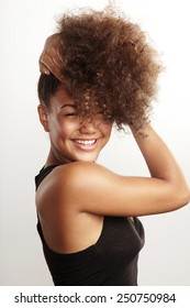 girls have fun with her afro hair
