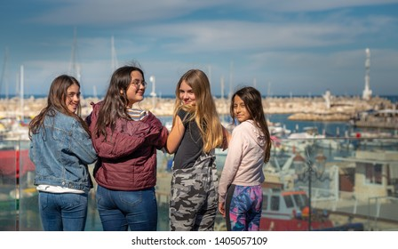 Girls have fun spending their day off at the marina. Israel Ashkelon January 2019