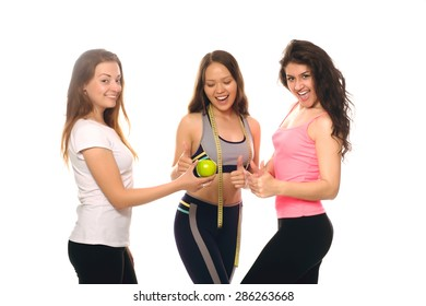 Girls involved in fitness and a healthy diet