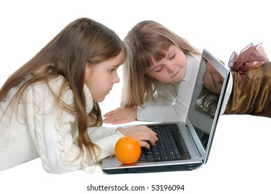 Girls with the laptop on a white background
