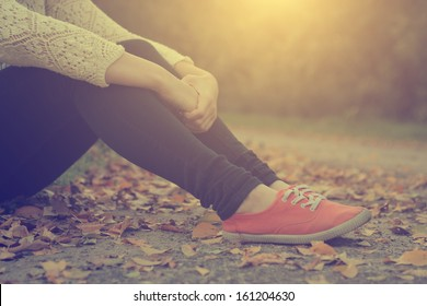 The girl's leg and retro shoes
