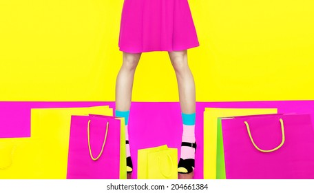 Girl's legs colorful crazy shopping