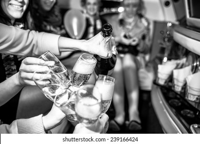 Girls in limo at hen-party, black and white