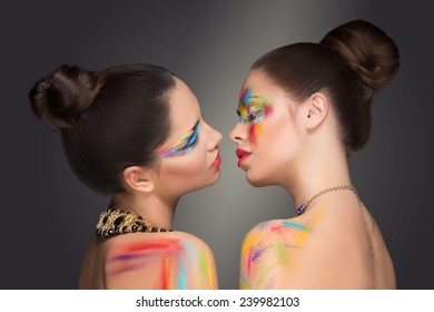 girls. make-up colour paint painting,