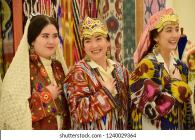 Girls in national clothes from Uzbekistan