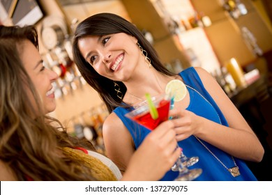 Girls night out having drinks and talking