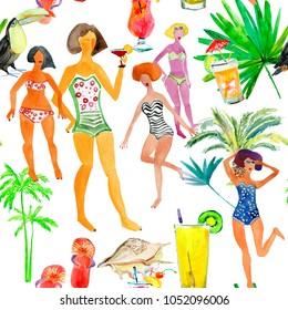 Girls on the beach. Seamless background.