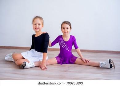 Girls on ice skates