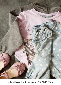 Girl's outfit, Casual outfit for toddler girls. Pink top and accessories.