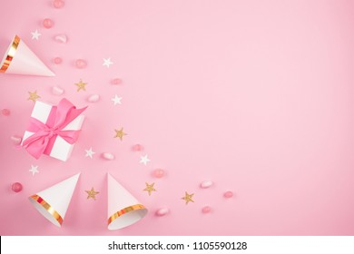 Girls party accessories over the pink background. Invitation, birthday, bachelorette party, baby shower concept