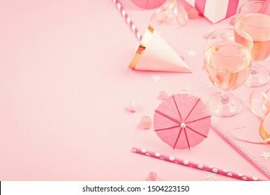 Girls party accessories over the pink background. Invitation, birthday, bachelorette party concept