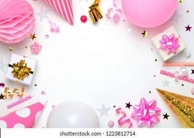 Girls party accessories over the white background. Birthday, invitation, bachelorette party, baby shower concept. Top view. Space for text.