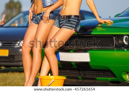 Girls Posing On Sport Car After Stock Photo Edit Now 457261654