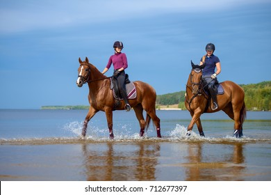 Girls riding a horse on coastline at the beach in early morning