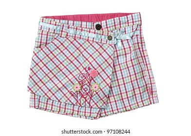 Girls shorts with large pocket, isolated on white. for small children