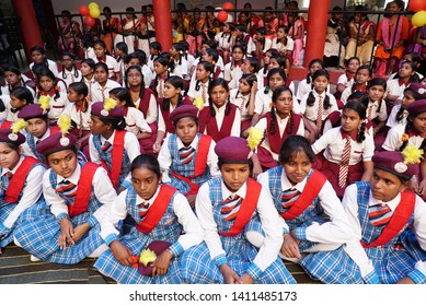 Girls sitting in audience of school assembly at Kasturba Gandhi High school, Ram Garh town, Jharkhand state, India pic clicked in 12 august-2018