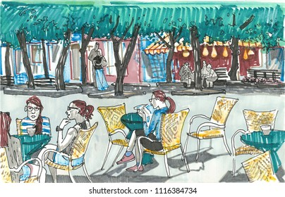 Girls sitting at the tables of outdoor cafe. Line of linden trees, shop windows, people on the background. Hand drawn sketch style marker pen illustration. European town street. Kaunas. Lithuania