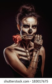 girl's skeleton in the Studio on a black background