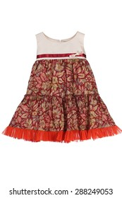 Girls sleeveless summer dress with red ribbon.