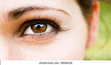 A girl's smiling eye
