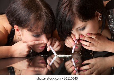 Girls Sniffing Cocaine Imitation Isolated On Stock Photo (Edit Now) 68110345