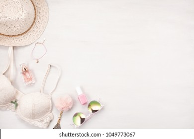 Girls Summer style in pastel colors. Lace lingerie, cosmetics and accessories