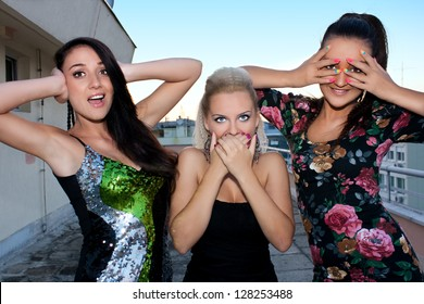 Girls in three different expression, no see, no hear and no talk