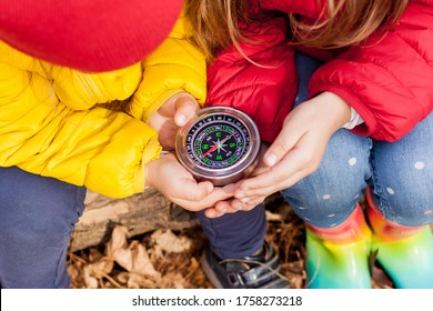 Girls Toddler holding compass in the hands. Children exploring nature in the forest on  warm autumn day Kids learning how to use compass. Outdoor recreation and awesome adventures with  in fall