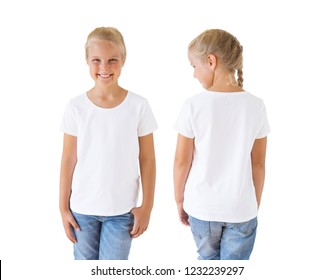 Girl's white t-shirt mockup template, front and back