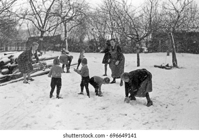 Girls and women playing in snow