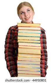 Girl-student  holds textbooks in hands.