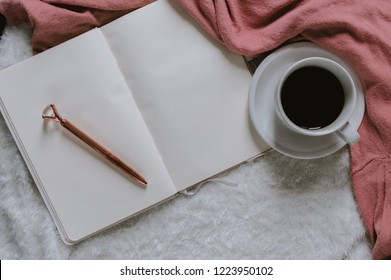 Girly Flatlay Cozy Room, Coffee and Writing