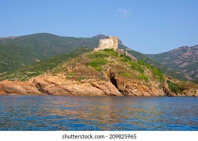 Girolata Fortress in nature reserve of Scandola, Corsica