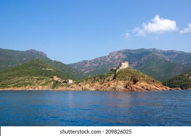 Girolata Village in Nature Reserve of Scandola, UNESCO World Heritage site, Corsica