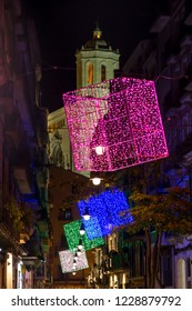 (Girona, Catalonia - December 5, 2012) - Christmas lights in the Old Quarter of Girona (Catalonia), with the Cathedral in the background