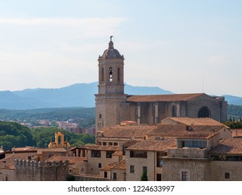 Girona cityscape with the Cathedral of Girona, Catalonia, Spain.