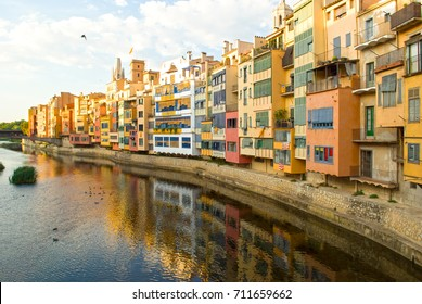 Girona colorful houses on the river, Catalonia,Spain